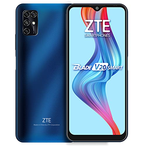 ZTE Blade V20 Smart (128GB, 4GB) 6.82, 16MP Quad Camera, 5000mAh Battery, Fingerprint & Face Unlock, GSM Unlocked US + Latin 4G LTE (T-Mobile, AT&T) International Model 8010 (Blue)