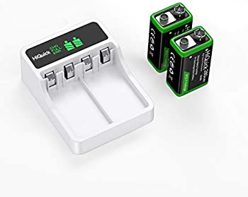 2-Pack HiQuick 9V Rechargeable Batteries with Battery Charger