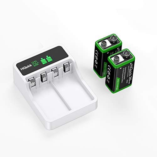 HiQuick 2-slot 9V Battery Charger, Fast Charging Function, Type C and Micro USB Input, with 2 x...