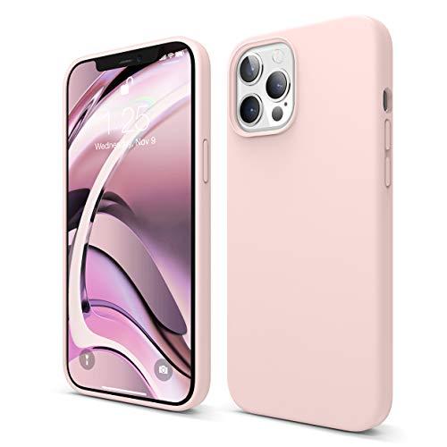 elago Silicona Líquida Funda Compatible con iPhone 12 Pro MAX Case (6.7'), Silicona Premium, Protección Funda Protectora 3 Tapas Estructura (Lovely Rosa)