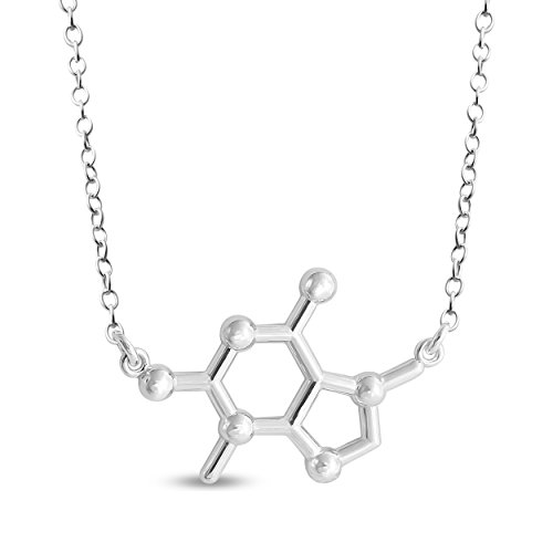 Azaggi Sterling Silver Handcrafted Chemical Structure of Chocolate Theobromine Chocolate Molecule Pendant Necklace (12)