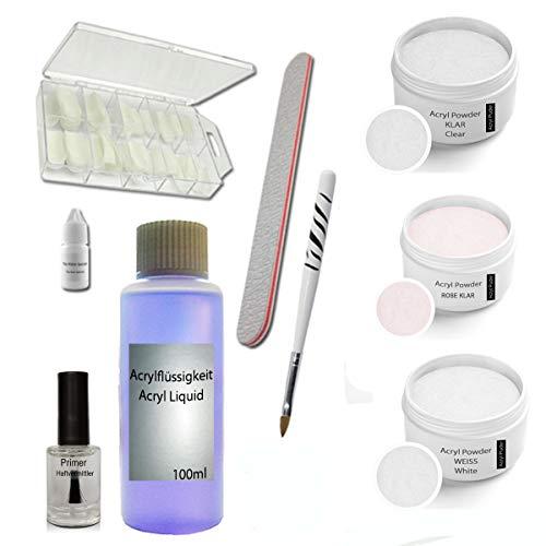 Acryl Set - Siena - Nagelstudio Starterset - Acrylpulver - Nail Kit - Acrylpulver - Arcylflüssigkeit - Arcyl Zubehör