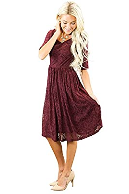 Emmy Modest Dress in Burgundy Lace, Modest Bridesmaid Dress or Semi-Formal Dress - M
