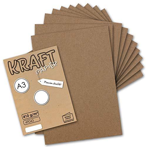 10x Vintage Kraftpapier DIN A3 410 g/m² Natur-braunes Recycling-Papier Bastel-Karton Künstler-Karton Künstler-Pappe I Umwelt by Gustav NEUSER®