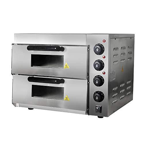 Horno de pizza de doble capa de 3000 W, de acero inoxidable, para asar, horno,...
