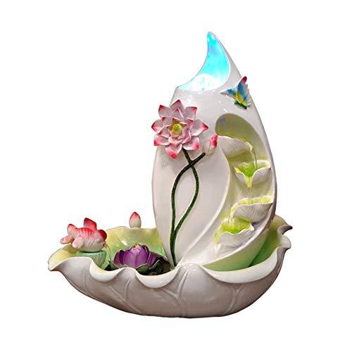 Fontaine résine,Fontaines de table intérieures F 鞥 s fera une fontaine bonsaï Décoration d'eau de table en cascade Fontaine de table zen Humidificateur de fontaine-Plus d'un an de lotus 19.3pouce