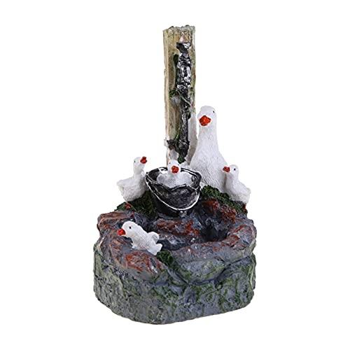 Simulación de patos para jardín, estatua de jardín de patos con luces solares Figurina de la fuente de la cascada, Decoración del patio al aire libre Decoración del estanque Ornamento del césped Artes
