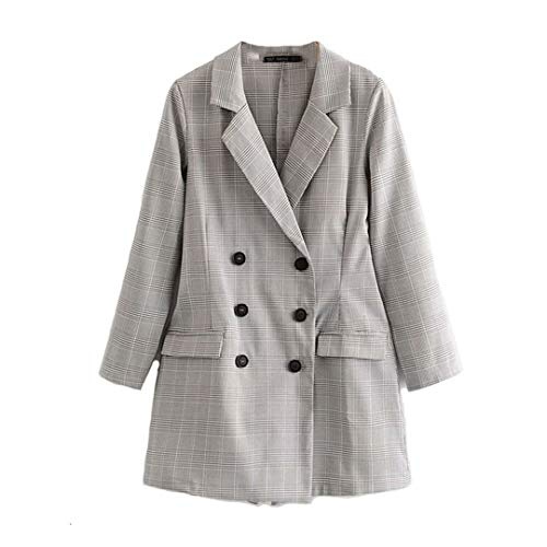 BoxJCNMU Grau Lattice Anzug Playsuits Doppel Breased Blazer-Jacken-Frauen Langer Blazer Gray S