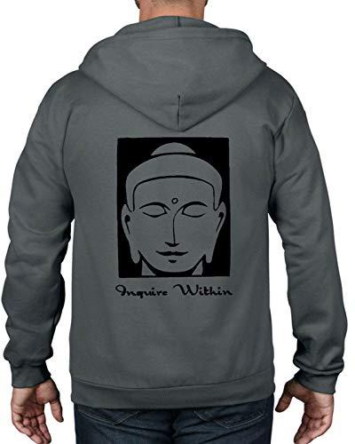 Inquire Within Buddhist Full Zip Hoodie Buddhism Meditation Yoga T Shirt,Charcoal Grey,XXXL