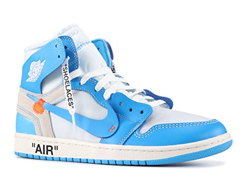 Nike Mens Air Jordan 1 X Off White NRG UNC White/Dark Powder Blue Leather Size 8.5
