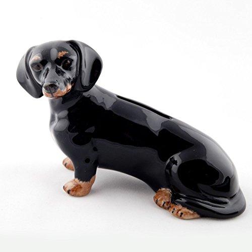 Quail Ceramics–Dackel Spardose schwarz und Tan