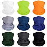 Dreamfox Unisex Solid Colour Seamless Bandana Sun UV Protection Magic Scarf Neck Gaiter Face Mask for Sport and Outdoor, Festivals -9 Pieces
