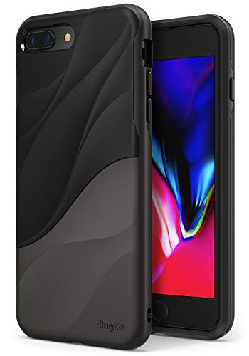 Ringke Wave Compatible with iPhone 8 Plus, iPhone 7 Plus Case, Dual Layer Heavy Duty Textured Shock Absorbent PC TPU Full-Body Drop Resistant Protection Ergonomic Design Cover - Metallic Chrome