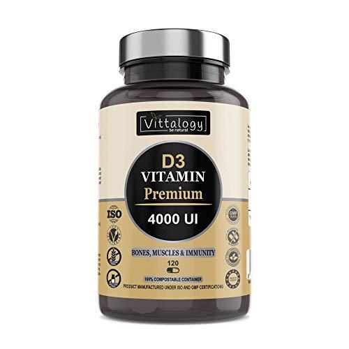 Vittalogy D3 Vitamin Premium. Suplemento Natural De Vitamina D3 4000 Ui Que Contribuye A La Absorción Intestinal De Calcio Y Fósforo Y Estimula El Sistema Inmunológico.120 Cápsulas.
