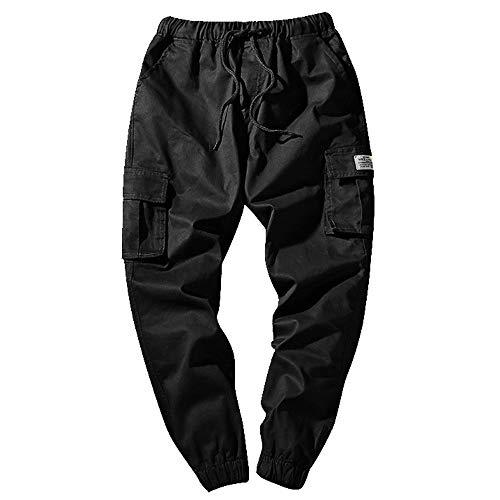 KPILP Hose Herren Dicke Haremshosen Mode Übergröße Tägliche Jeans Tarnung Neun Punkte Kleine Füße Lose Beiläufige Sportwear Chino(B-schwarz, 6XL