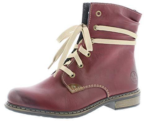 Rieker Donna Polacchine 71229, Signora Stivali,Chukka Boot,Half Boots,Stivaletti Stringate,Foderato,Stivaletti Invernali,Wine,36 EU / 3.5 UK