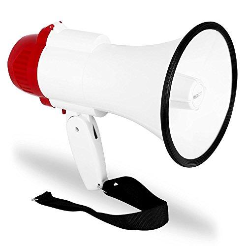 auna MEG1 - Megafon, Sprachrohr, Megaphone, tragbarer Lautsprecher, mit Sirene, 500 m Reichweite, 30 Watt max, Aufnahme und Wiedergabe-Funktion, batteriebetrieben, rot-weiß