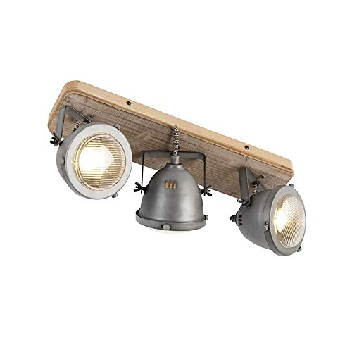 QAZQA Plafón industrial acero madera inclinable 3-luces - EMADO/Acero Alargada Adecuado para LED Max. 3 x 25 Watt