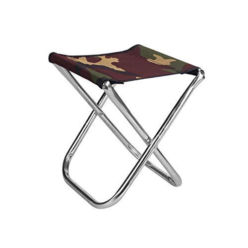 Taburete plegable para acampar al aire libre, plegable, ligero, para pesca, senderismo, color plateado