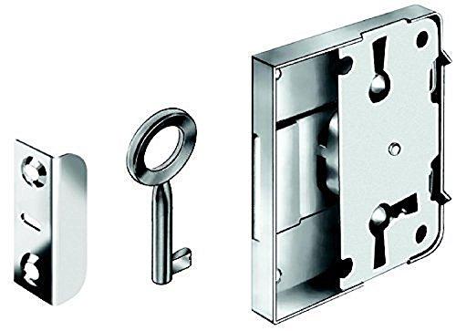 Gedotec Sicherheitsschloss für Schränke Möbelschloß für Schubläden Kastenschloss Set | Stahl vernickelt | Aufschraubschloss Dornmaß: 25 mm | MADE IN GERMANY | 1 Stück - Schrankschloss mit Schlüssel