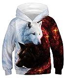 ALISISTER Kinder 3D Galaxis Wolf Druck Hoodie Sweatshirt Unisex Lustige Langarm Pullover Kapuzenpullover Kapuzen Sweatshirt mit Taschen M