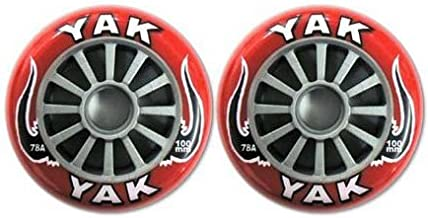YAK キックボード用ウィール 100mm x 78a(Soft)前後Set (Red on Silver)