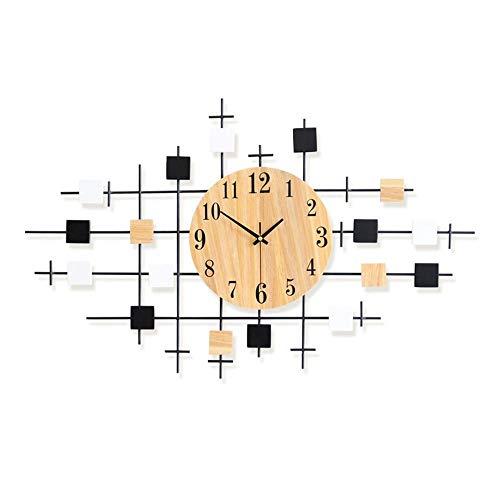 Bradoner Reloj de Pared Mesa De Reloj Simple Salón De Madera Reloj De Pared Decoración del Hogar Reloj Mudo Mesa Creativa
