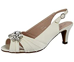40bfac2b150 Ladies Lexus Bridal Comfort Fit Wide Fit Bridal Shoes with Peep Toe and  Diamante Trim in Ivory