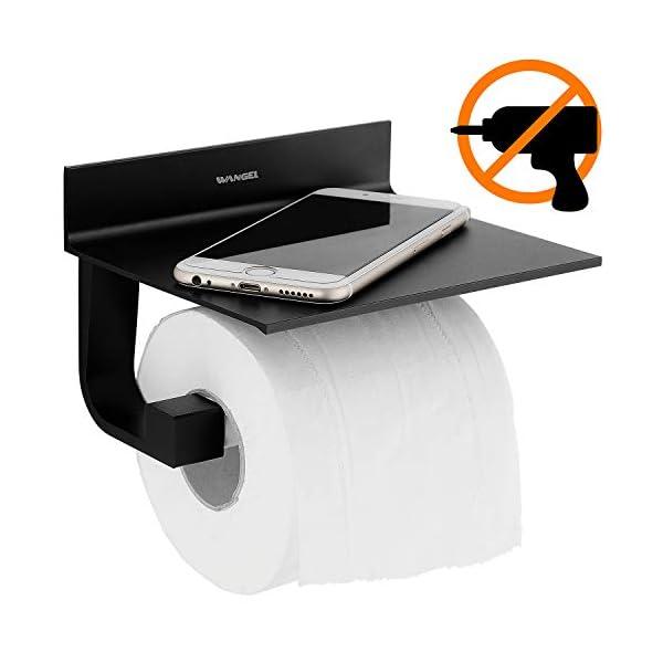 Wangel Portarrollo para Papel Higiénico, Pegamento Patentado + Autoadhesivo, Aluminio, Acabado Mate, Negro