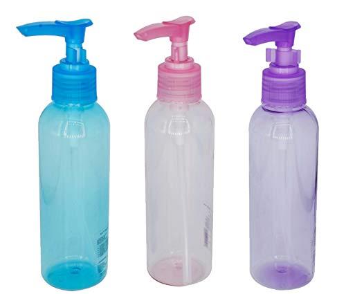 3 pcs Botes Transparentes rellenables vacíos con dosificador para Viaje Maquillaje cosmético 150 ml