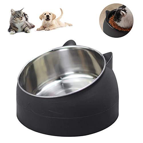 Cuenco del Gato, Tazón para Mascotas, Tazón para Perro,Inoxidable Cuencos para Comida para Gatos,Cuencos para Mascotas Antideslizantes con 15° Inclinación, para Gatos y Perros Pequeños (Negro)