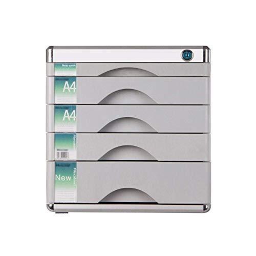 Preisvergleich Produktbild Aktenschränke,  Desktop-Schublade Sorter Abschließbare Aluminiumlegierung Data Office Speicher-Fach Vertraulichkeit mit Schloss Office Desktop Schublade Organizer (Entwurf: 5 Schichten) Home Office Möb