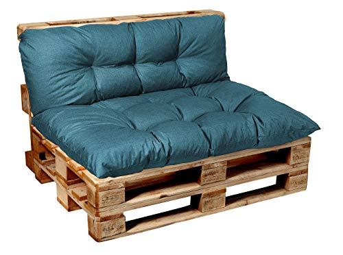 Garden factory Coussins pour Canape Euro Palette, Assise, Dossier, Set, extérieur intérieur Set (Assise 120x50 + Dossier 120x50)