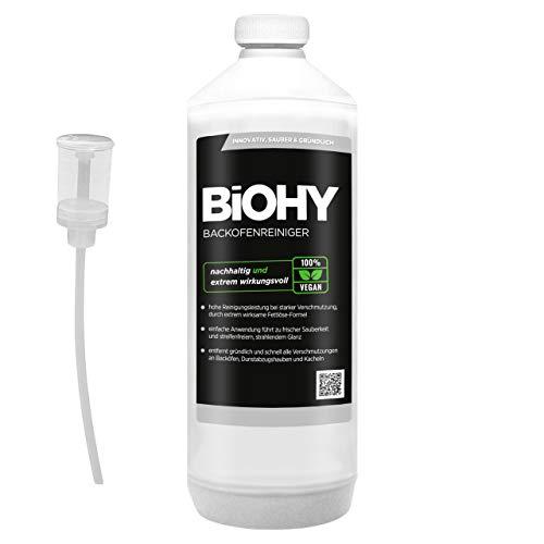 BiOHY Backofenreiniger Hochkonzentrat (1l Flasche) + Dosierer | Profi Grillreiniger, Fettlöser EXTRA STARK | Zur einfachen und schnellen Ofenreinigung | Löst hartnäckigste Verkrustungen