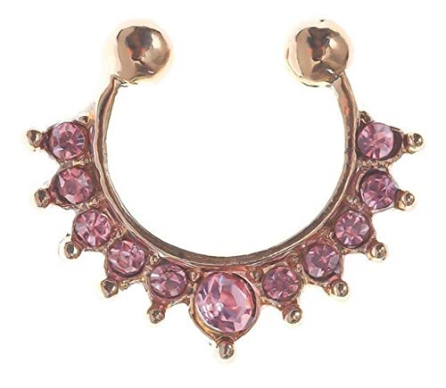 HXTXB 1Pc 10mm Zircon Fake Septum Piercing Nose Ring Hoop Nose For Girl Men Faux Body Clip Rings Non Body Jewelry Non-Pierced Female ring (Color : Rose gold Pink gem, Size : 10mm)