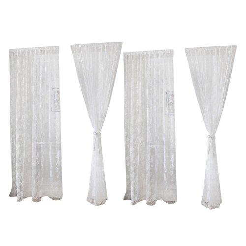 Sharplace 2pcs Transparente Schmetterling Voile Vorhang Tüll Raumteiler Wohnzimmer Kinderzimmer Fenster Balkon Deko, 100x200cm - Weiß