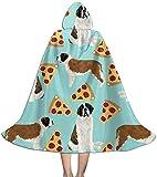 Capa para niños Capa de San Bernardo Rebanadas de Pizza Perro Disfraces de Halloween Capas de Bruja