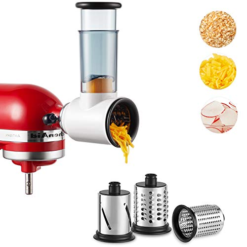 of attach for kitchenaid stands Slicer Shredder Attachment for Kitchenaid Stand Mixer,Cheese Grater Attachment for KitchenAid Stand Mixer, Food Processor with 3 Blades by Hozodo