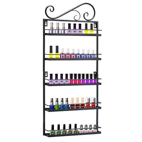 Meisax Estantería de metal para pintauñas de 5 niveles, para almacenamiento de cosméticos, para pintauñas, de pared, para pintalabios, color negro
