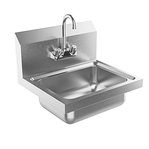"""Bonnlo Commercial Stainless Steel Perp/Bar Sink Hand Wash Sink - Wall Mount Hand Washing Basin Commercial Kitchen Heavy Duty with Faucet 17"""" L x 15"""" W x 14"""" H (Without SideSplash)"""