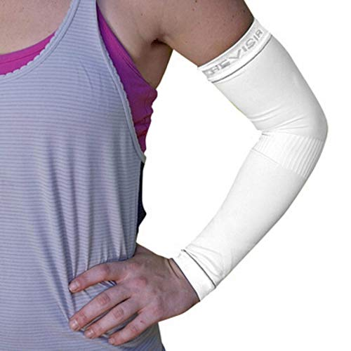 Arm Compression Sleeves BeVisible Sports - Arm & Elbow Support For Men Women & Youth - Boosts Circulation, Aids Faster Recovery - With SPF 50+ UV Sun Protection - 1 Pair (Small/Medium, White)