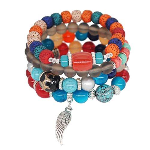 MeiPing Damen 4 StüCke Bunte Perlen Armband Multilayer Bangle Handmade ArmbäNder Armreif Modeschmuck