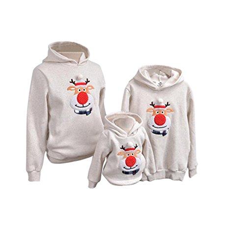 YYF Sweatshirt Weihnachten Familie Pullover mit Kapuze Weihnachtselch Rot Nase Elch Bluse Mama Papa Kinder Baby