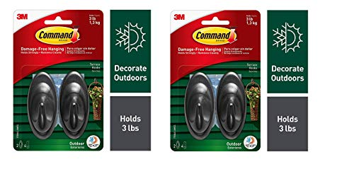 Command Outdoor 3 lb Capacity Medium Terrace Hooks, Black, Water-Resistant Strips, 2 Hooks, 4 Strips, Decorate Damage-Free (17086S-AWES) - 2 Pack