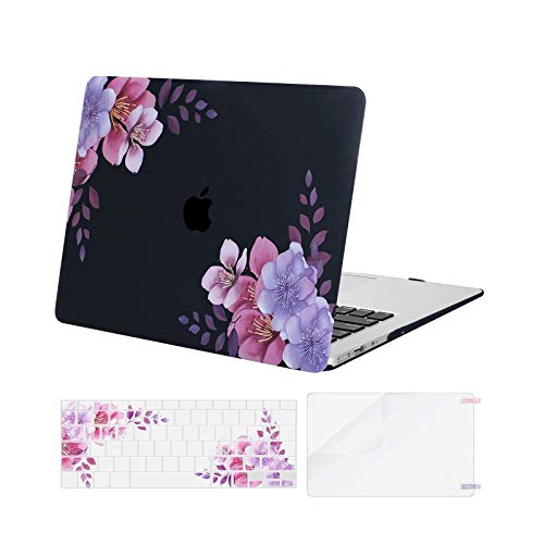 MOSISO Compatible with MacBook Air 13 inch Case (Models: A1369 & A1466, Older Version 2010-2017 Release), Plastic Pattern Hard Shell Case & Keyboard Cover & Screen Protector, Peach Blossom