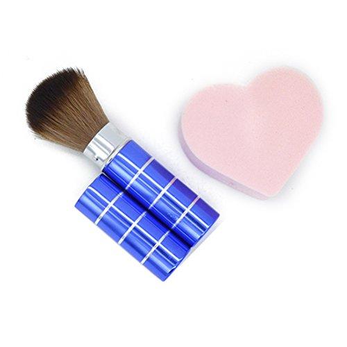Frcolor Pinceau de maquillage télescopique rétractable pour poudre, blush, bleu