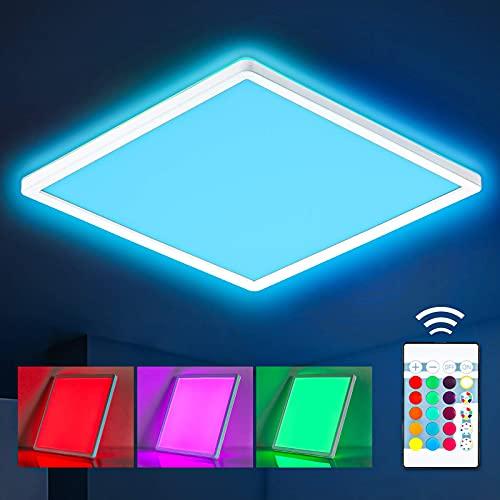 Oraymin LED Deckenleuchte RGB Farbwechsel mit Fernbedienung, 22W 2400LM Deckenlampe Dimmbar, 42cm Quadratisch Hintergrundbeleuchtung und 4000K Neutralweiß, IP44 Wasserfest für Wohnzimmer Kinderzimmer