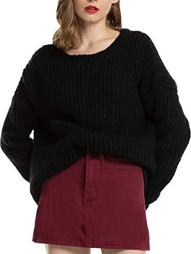 Woolen Bloom Jersey Punto Mujer Camiseta Manga Larga Sueter Invierno Jersey Basico Suelto Jerseys Cuello Redondo Casual…