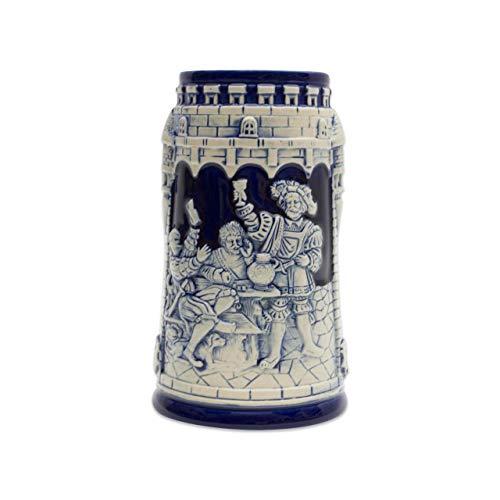 Beer Stein German Castle Festive Engraved Cobalt Blue Beer Mug by E.H.G.   .60 Liter