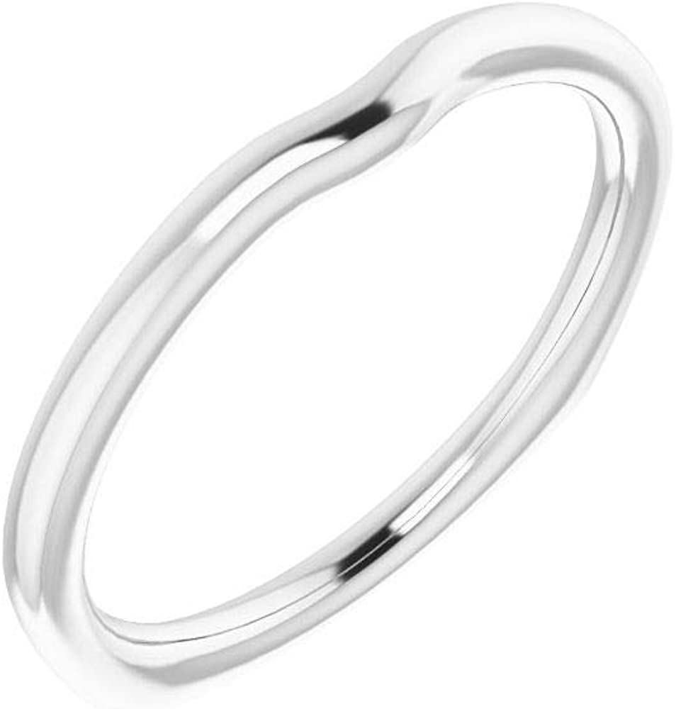 Solid 10K White Gold Curved Notched Wedding Band for 4.4mm Round Ring Guard Enhancer - Size 7